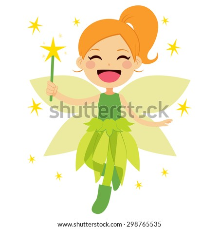 Cute green fairy holding magical star wand flying happy - stock vector