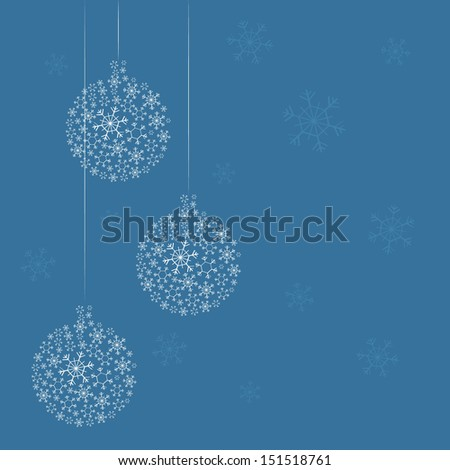 Cute greeting card with Christmas-tree decoration, vector illustration, 2014 - stock vector