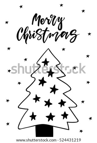 Cute greeting card with Christmas tree. Hand drawn vector illustration