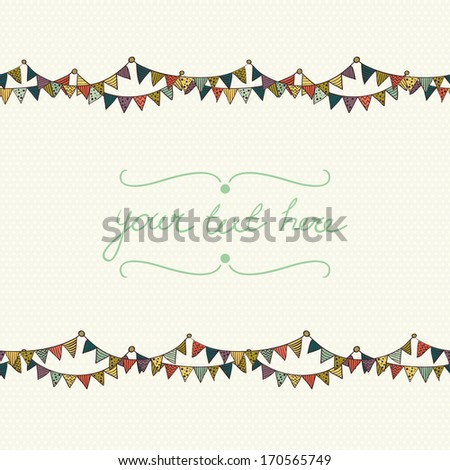 Cute greeting card with colorful childish bunting flags on polka dot background. Hand drawn invitation. - stock vector