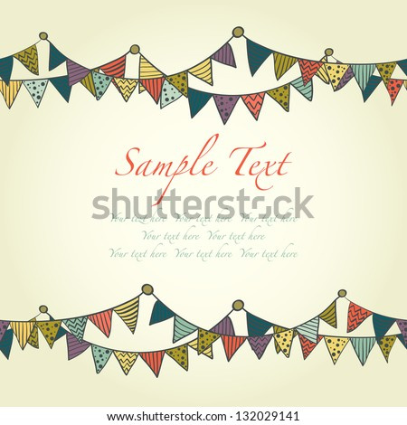 Cute greeting card with colorful childish bunting flags. Vector illustration. - stock vector