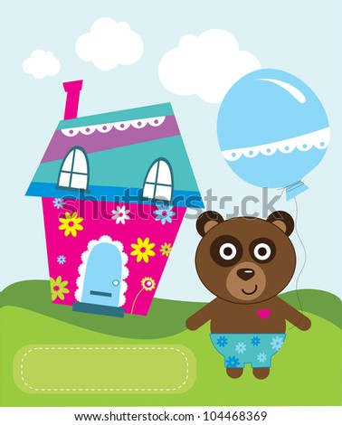 cute greeting card with fun bear . vector illustration