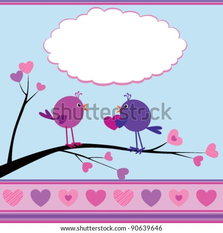 Cute greetings card with birds for Valentine Day