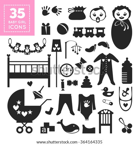 Cute greetings card with icons of babies thing, toys and furniture in flat design style. Abstract baby elements in black and white color. Cool childish accessoires. Vector design illustration - stock vector