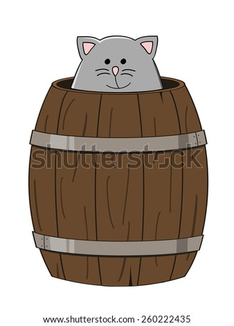 cute grey cat looking out a wooden barrel - stock vector