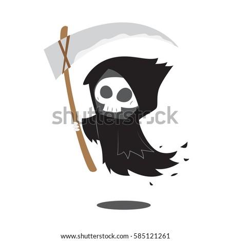 Cartoon Death Scythe Icon Black White Stock Vector
