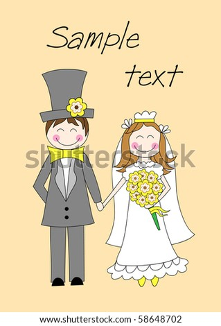 Cute groom and bride standing and holding hands, vector illustration