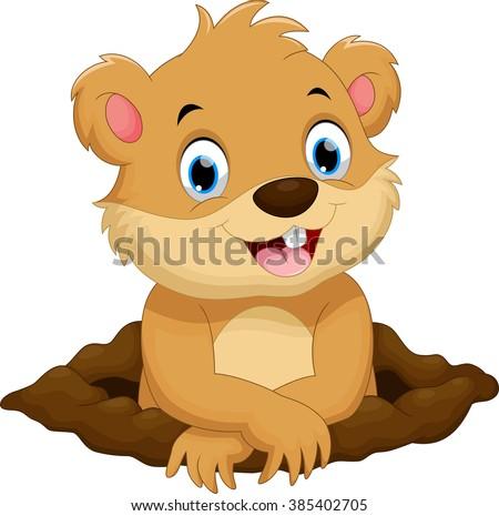Cute groundhog cartoon - stock vector
