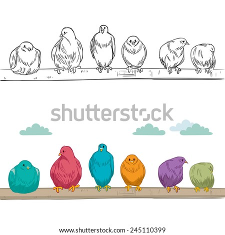 Cute group of birds of different color perched on branch resting and watching alert - stock vector