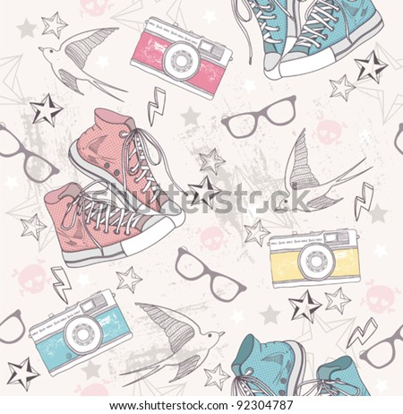 Cute grunge abstract pattern. Seamless pattern with shoes, photo cameras, glasses, stars, thunders and birds. Fun pattern for children or teenagers. - stock vector