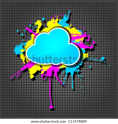 Cute  grunge cloud computing icon frame on the metallic background - stock vector