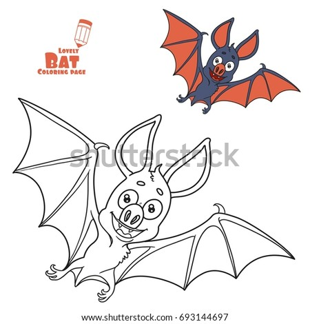 cute halloween bat color and outlined for coloring page - Bat Picture To Color