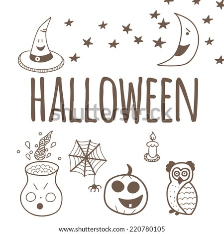 Cute halloween invitation or greeting card template. Vector illustration. - stock vector