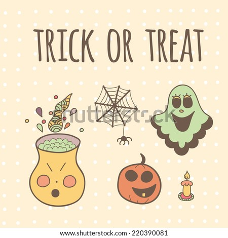 Cute halloween invitation or greeting card template.Vector illustration. Trick or treat. - stock vector