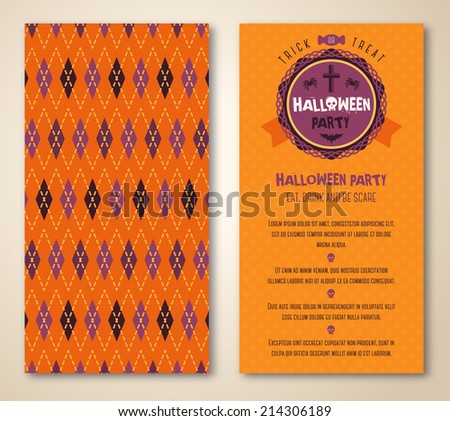 Cute Halloween invitation or greeting card template with argyle background. Hand written Happy Halloween lettering and place for the text. Halloween label or emblem. - stock vector