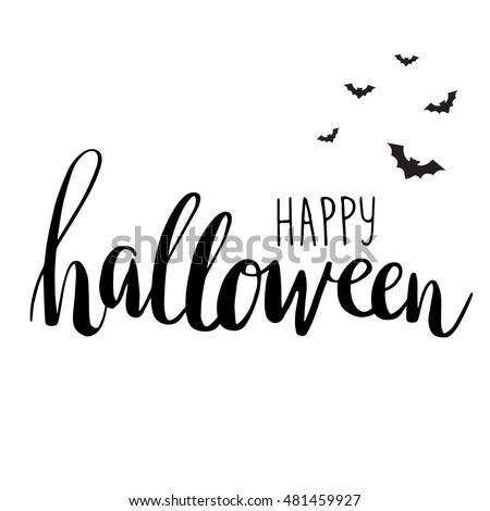 Cute halloween invitation greeting card template stock vector cute halloween invitation or greeting card template with black bats on hand written lettering phrase happy stopboris Gallery