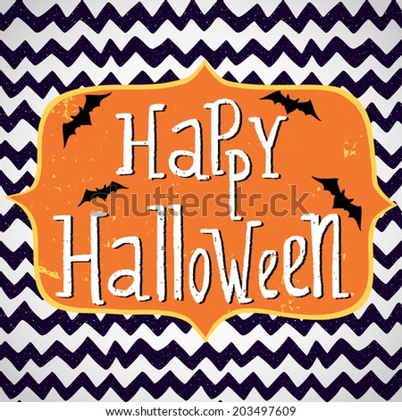 Cute halloween invitation or greeting card template with cartoon bats on hand drawn doodle chevron background. Hand written Happy Halloween lettering and frame for the text. - stock vector