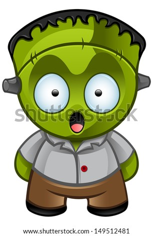 Cute Halloween Monster - Looking Shocked - stock vector