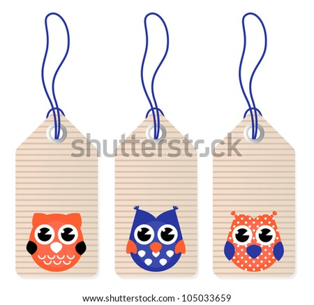 Cute halloween owl blank tags. - stock vector