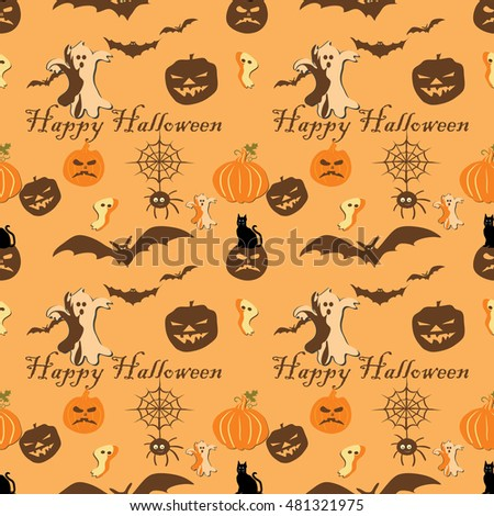 Cute Halloween pattern with bats and hats and cats, for fabric, wrapping paper,etc. Print colors used.
