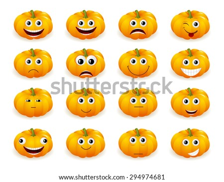 Cute Halloween pumpkin decoration making  different funny face expressions - stock vector