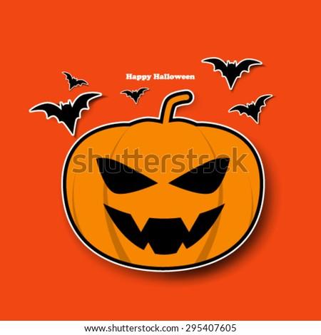 Cute Halloween Pumpkin Design Background - stock vector