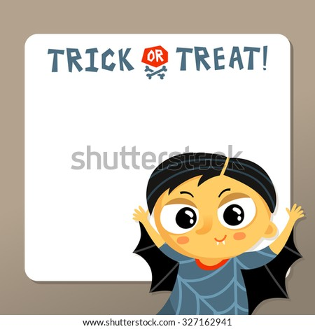 Cute Halloween vector greeting card or party invitation template with vampire boy in carnival costume and copy space for text  - stock vector