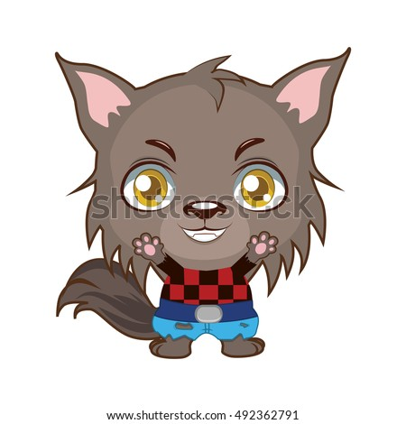 cute halloween werewolf illustration - Halloween Werewolf