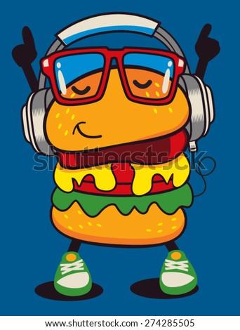 cute hamburger vector design - stock vector