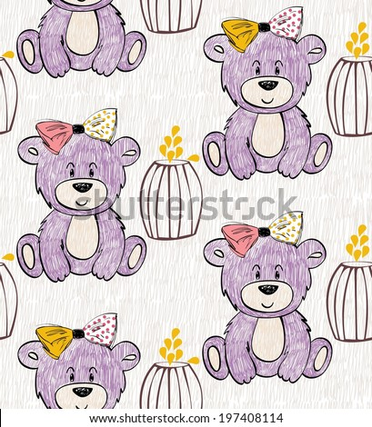 Cute Hand Draw Seamless Pattern Kids Stock Vector 2018 197408114