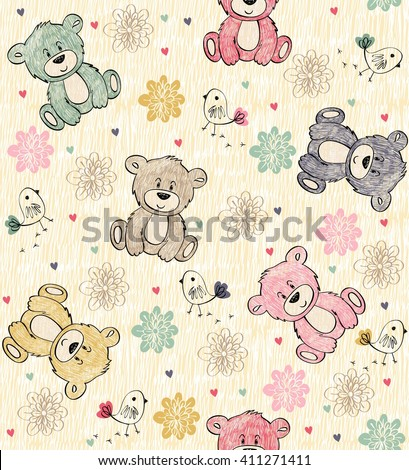 Cute hand draw seamless pattern with cartoon bear