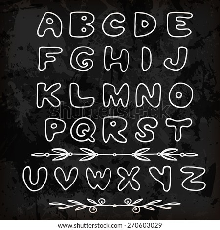 Cute hand drawn alphabet made in vector. ABC for your design. Doodle font - stock vector