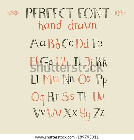 Cute hand drawn alphabet made in vector. ABC for your design. Easy to use and edit letters.