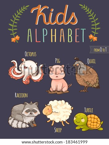 Cute hand drawn animal alphabet: letters from O to T - stock vector