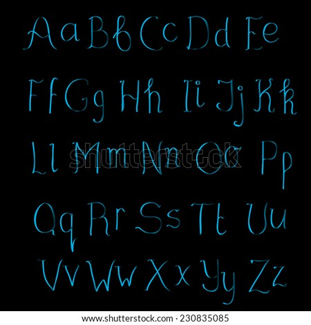 Cute hand drawn blue gradient alphabet made in vector. ABC for your design. Easy to use and edit letters.  - stock vector