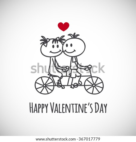 Cute hand drawn boy and girl (cartoon doodle)Valentine`s day background. Couple on tandem bicycle. - stock vector