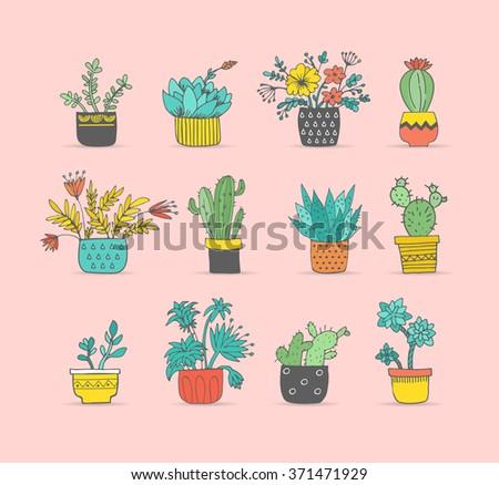 Cute hand drawn cactus set - stock vector