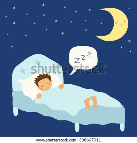Cute hand drawn childish background as sweet sleeping kid - stock vector