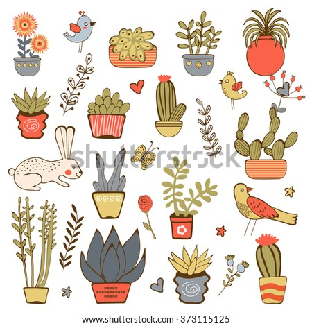 Cute hand drawn collection of house plants - stock vector