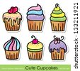 cute hand drawn cupcakes set, vector design elements - stock vector