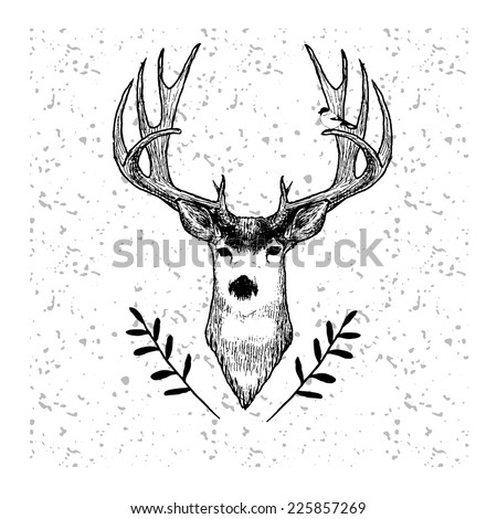 Cute hand drawn deer with bird on grange pattern in vector  - stock vector