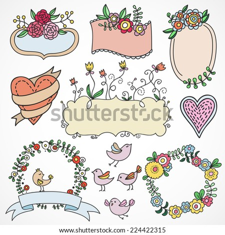 Cute hand drawn design elements: flowers, wreaths, banners, ribbons made in vector - stock vector