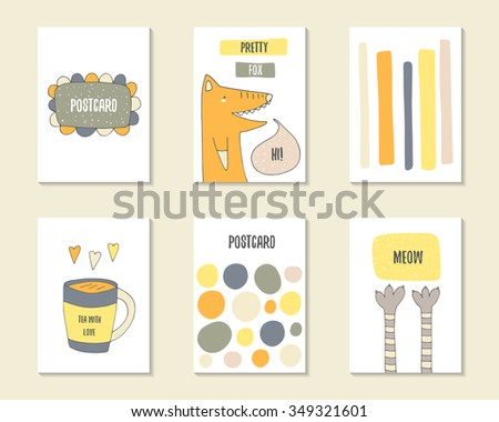 Cute hand drawn doodle baby shower, birthday, party cards, brochures, invitations with circles, frame, cat paws, fox, stripe, cup of tea, heart, dialog bubble. Cartoon animals, objects background. - stock vector