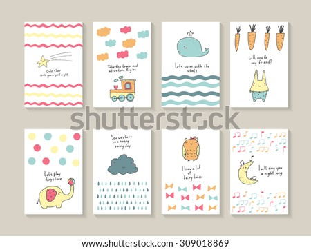 Cute hand drawn doodle baby shower cards, brochures, invitations with star, whale, waves, carrot, rabbit, elephant, ball, cloud, rain drops, owl, bows, moon, notes, train. Cartoon animals background - stock vector