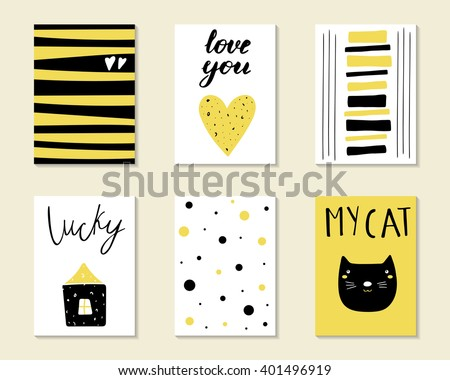 Cute hand drawn doodle birthday, party, baby shower cards, brochures, invitations with cat, house, heart, polka dots. Cartoon objects, animals background. Black and golden printable templates set - stock vector