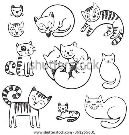 Cute hand-drawn doodle cats with different emotions.