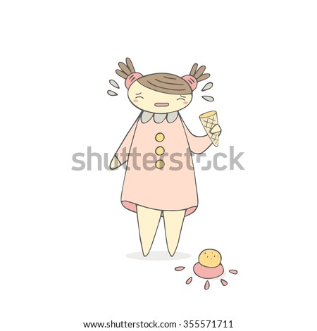 Cute hand drawn doodle crying girl with ice cream on the floor. Background with girl in pink dress. Child emotions - stock vector