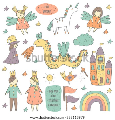 Cute hand drawn doodle fairy tale, wonderland, kingdom objects collection including castle, princess, prince, sprites, unicorn, cloud, sun, dragon, evil magician, rainbow, flag, bird, wand, stars. - stock vector