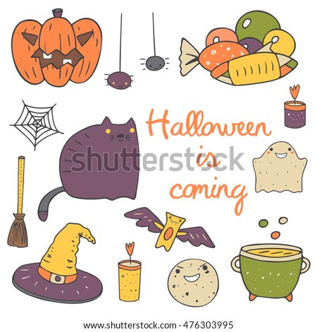Cute hand drawn doodle halloween objects collection including pumpkin, spider, sweets, net, cat, ghost, candle, cauldron, moon, bat, witch hat, broom stick. Halloween icons set, decorative elements