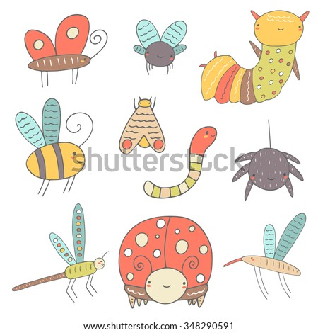 Cute hand drawn doodle insects collection including butterfly, bee, lady bird, worm, fly, moth, caterpillar, mosquito, dragonfly, spider. Insect icon. Happy, smiling insects collection for children - stock vector